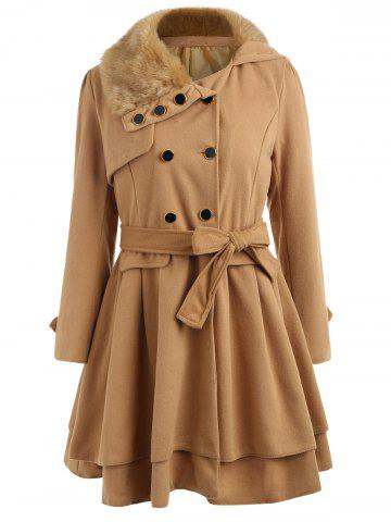 Chic Skirted A Line Coat with Belt