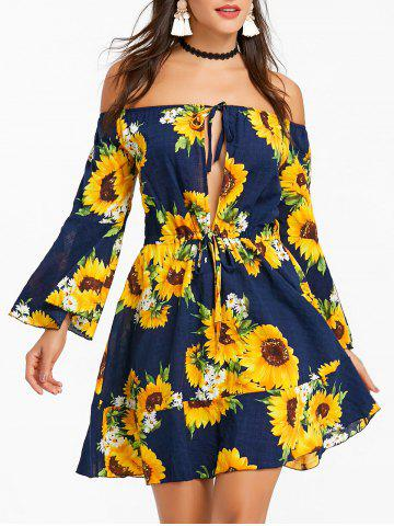 Best Bohemian Sunflower Print Off The Shoulder Dress
