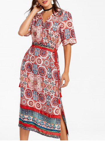 Latest Bohemian Printed Midi Surplice Dress
