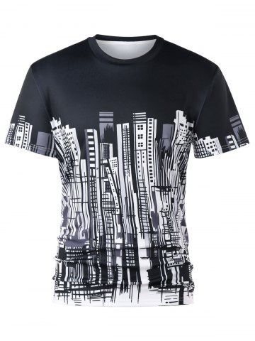 Trendy City Buildings Print Crew Neck T-shirt