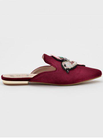 Rhinestone Beading Color Block Mules Shoes - Wine Red - 39