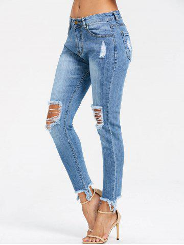 Chic Frayed Knee Ripped Skinny Jeans