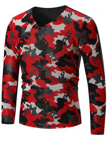 Trendy V Neck Camo Pattern Long Sleeve T-shirt