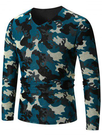 Cheap V Neck Camo Pattern Long Sleeve T-shirt