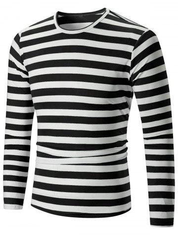Discount Casual Striped Print Long Sleeve T-shirt