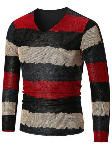 Buy Long Sleeve Color Block  V Neck T-shirt