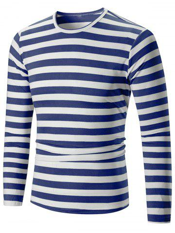 New Casual Striped Print Long Sleeve T-shirt