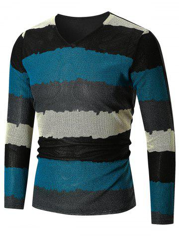 Trendy Long Sleeve Color Block  V Neck T-shirt