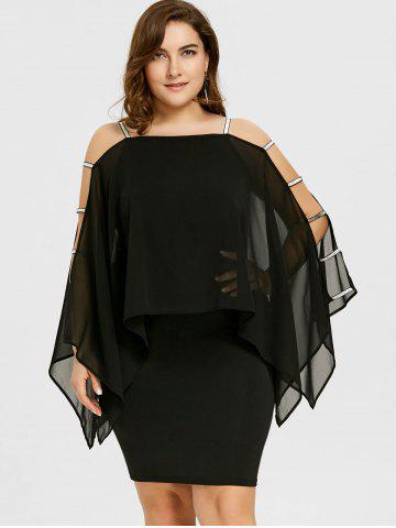 Plus Size Ladder Cut Sheer Capelet Dress