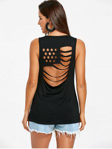 Cut Out American Flag Sleeveless T-shirt