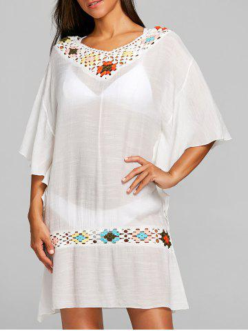 Cheap Crochet Flutter Sleeve Beach Cover-up