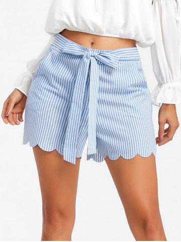 Affordable Bowknot Scalloped Stripe Shorts