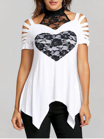 Trendy Lace Heart Ripped T-shirt