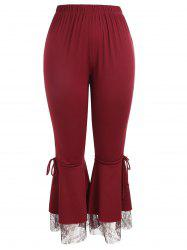 Plus Size Lace Panel Bell Bottom Pants -