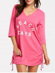 Mini Beach V Neck Cover Up Dress -
