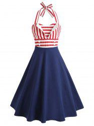 Sleeveless Striped Flare Vintage Dress -