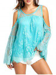 Cold Shoulder Scalloped Edge Lace Blouse -