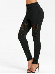 High Waisted Lace Panel Pencil Pants -