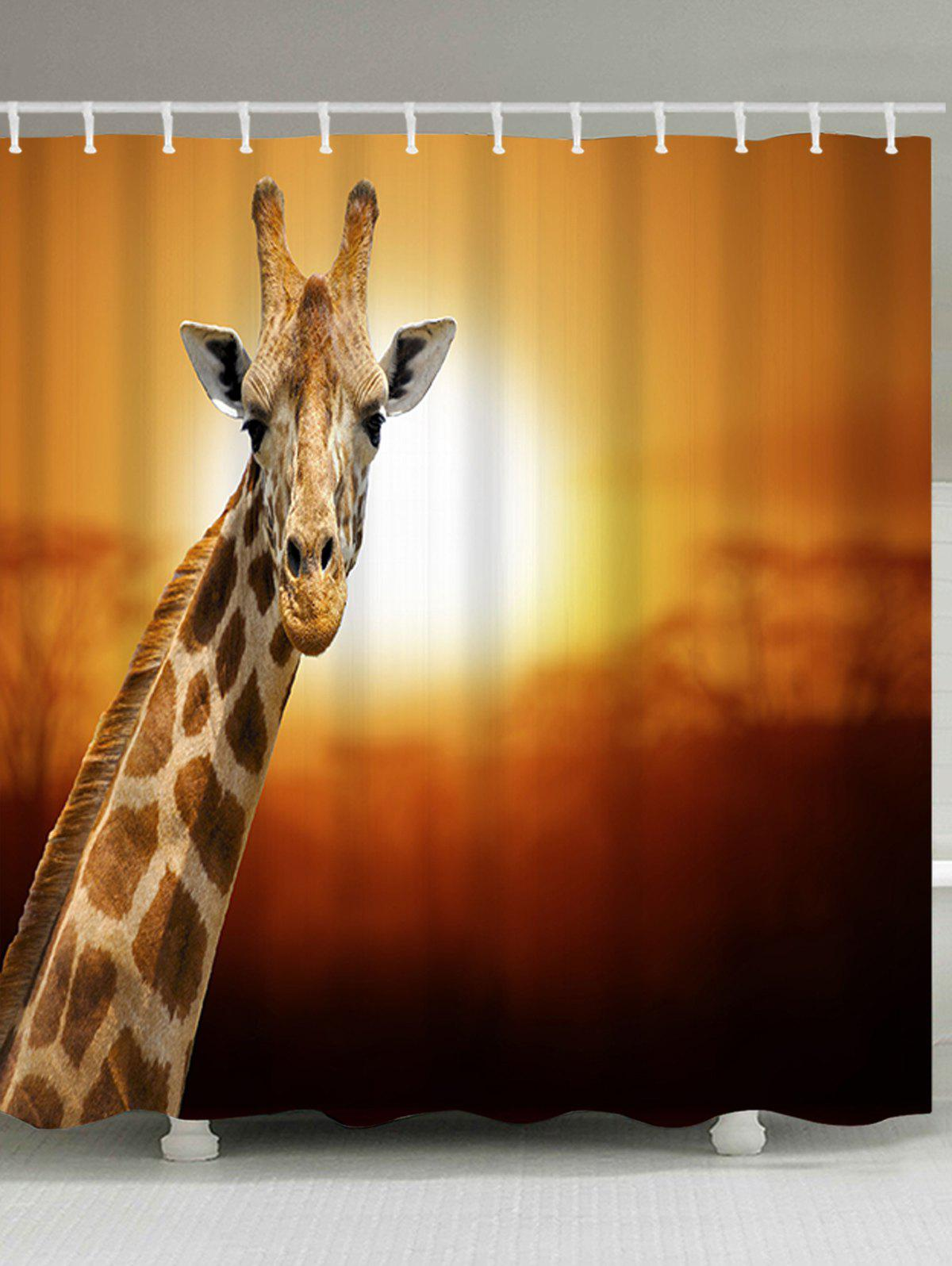 Trendy Sunset Giraffe Scenery Print Bathroom Shower Curtain