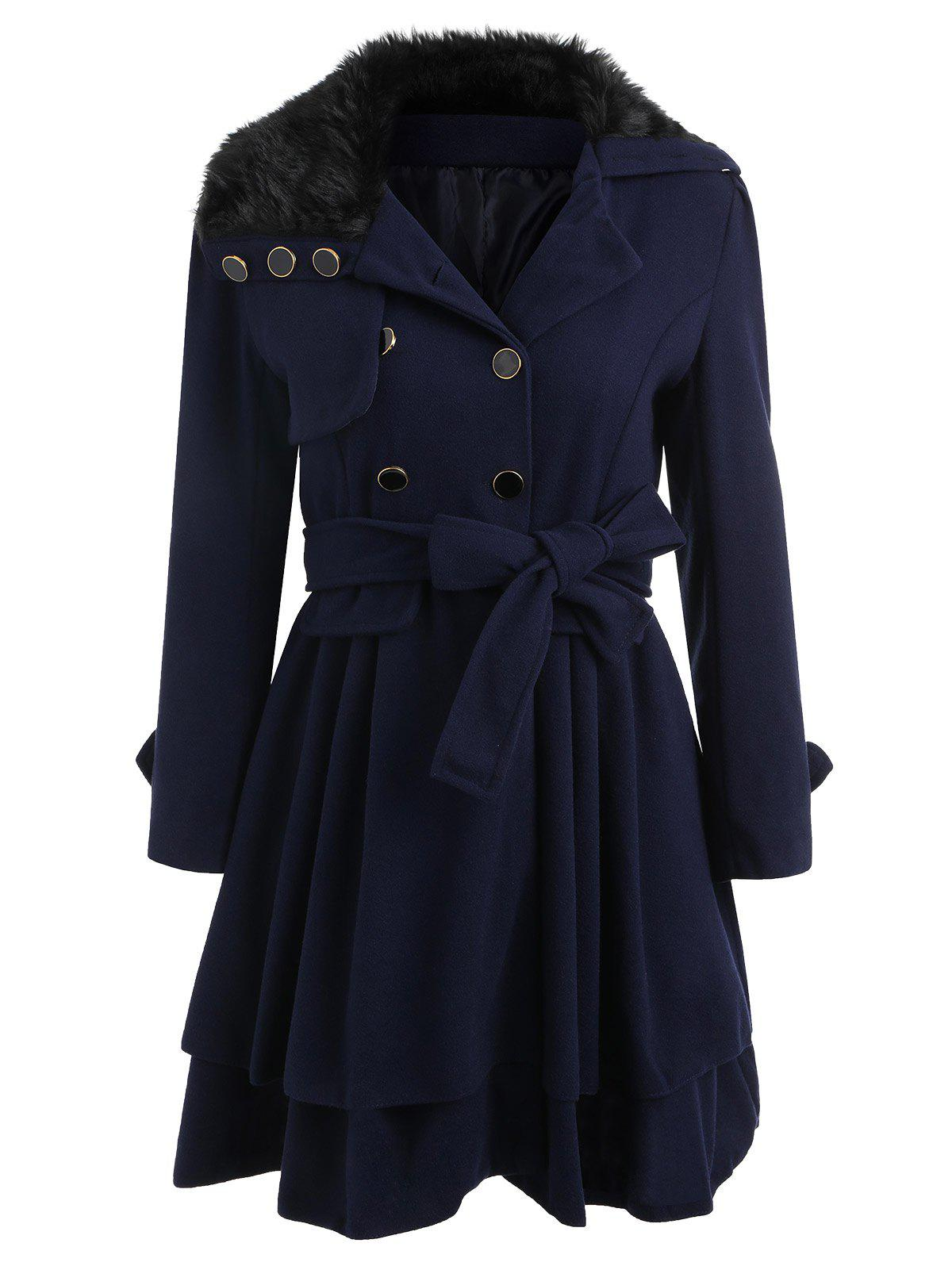 Unique Skirted A Line Coat with Belt