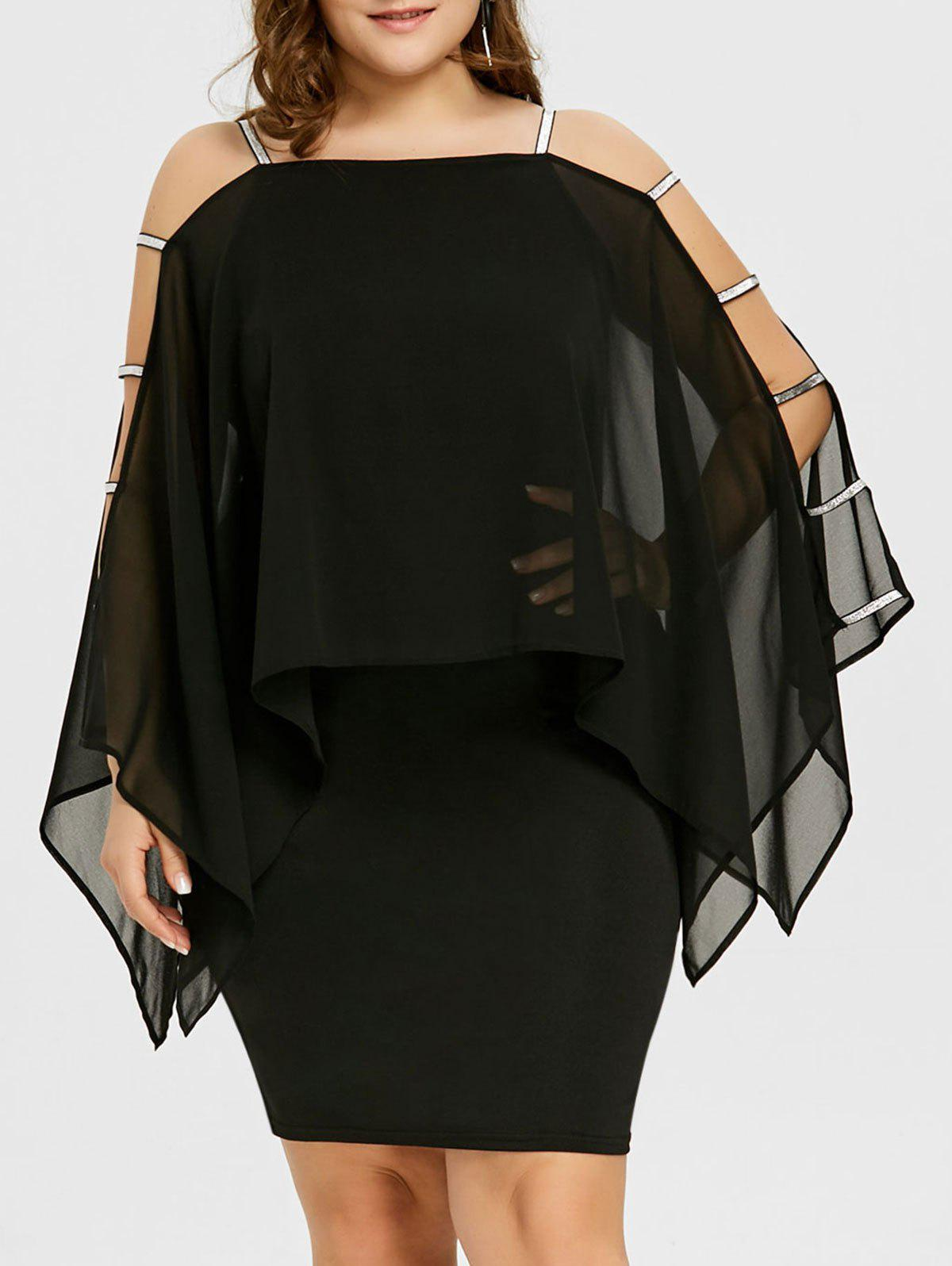 Buy Plus Size Ladder Cut Sheer Capelet Dress