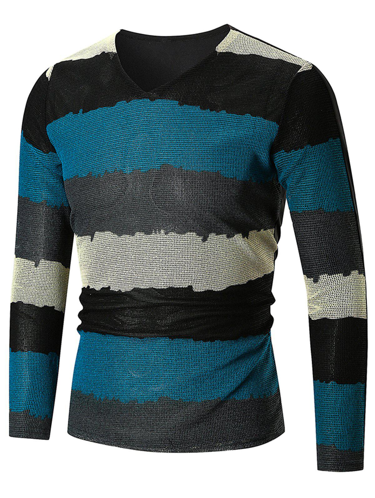 Outfit Long Sleeve Color Block  V Neck T-shirt