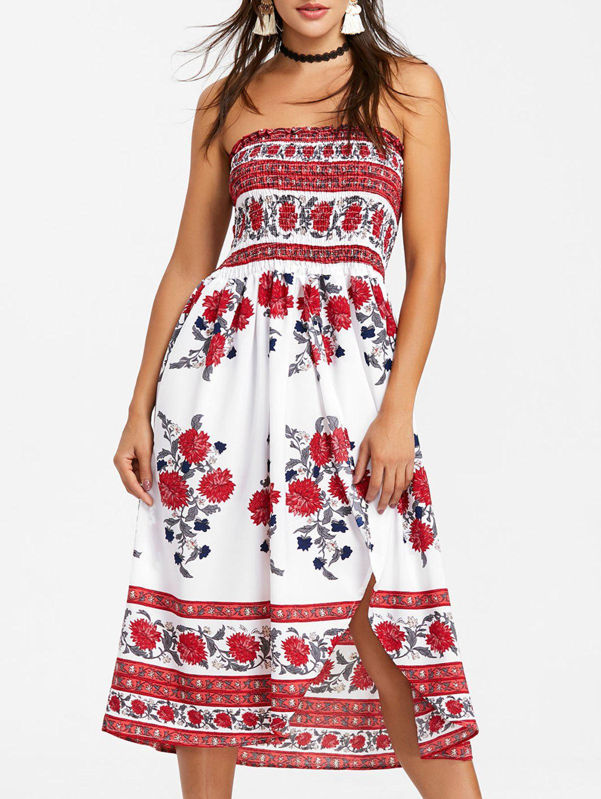Outfit Bohemian Strapless High Slit A Line Dress