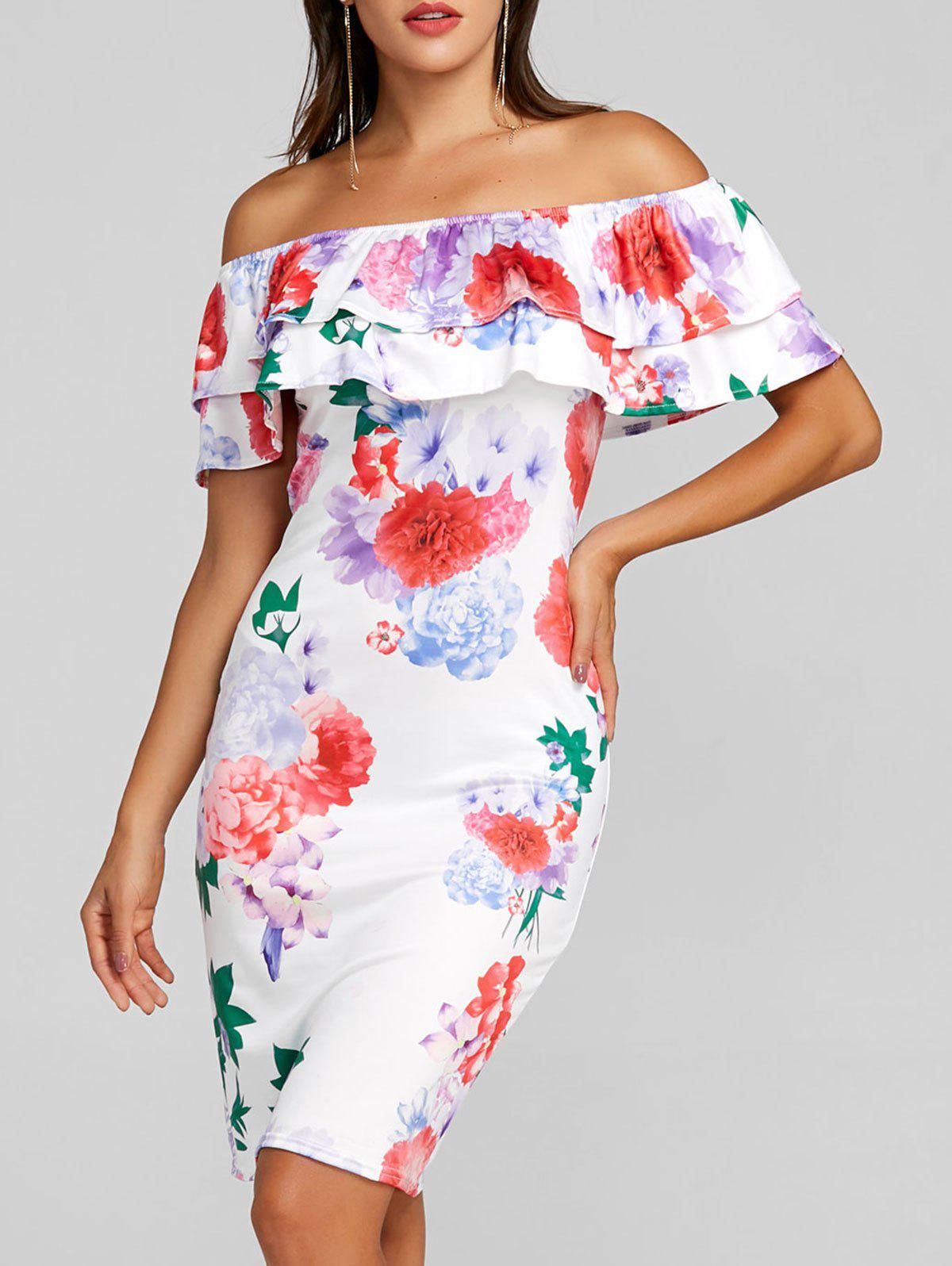Trendy Ruffle Printed Off the Shoulder Party Dress