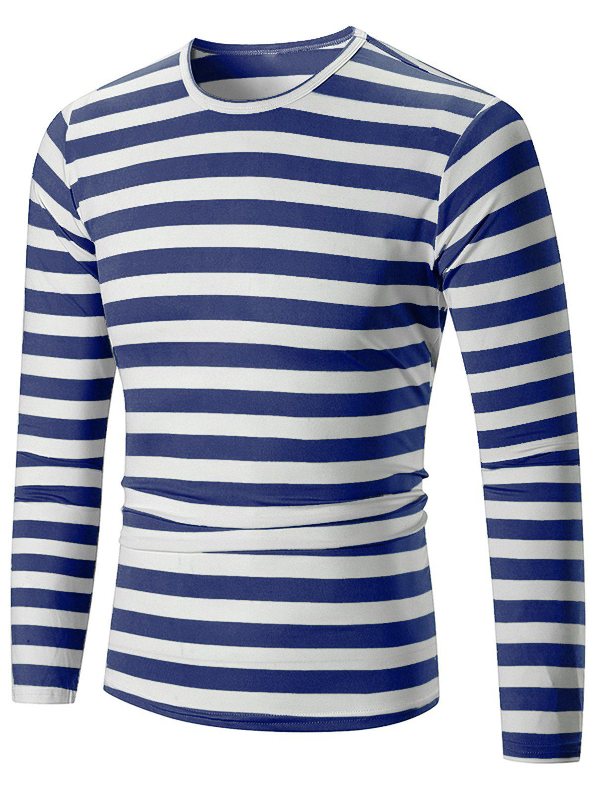 Chic Casual Striped Print Long Sleeve T-shirt