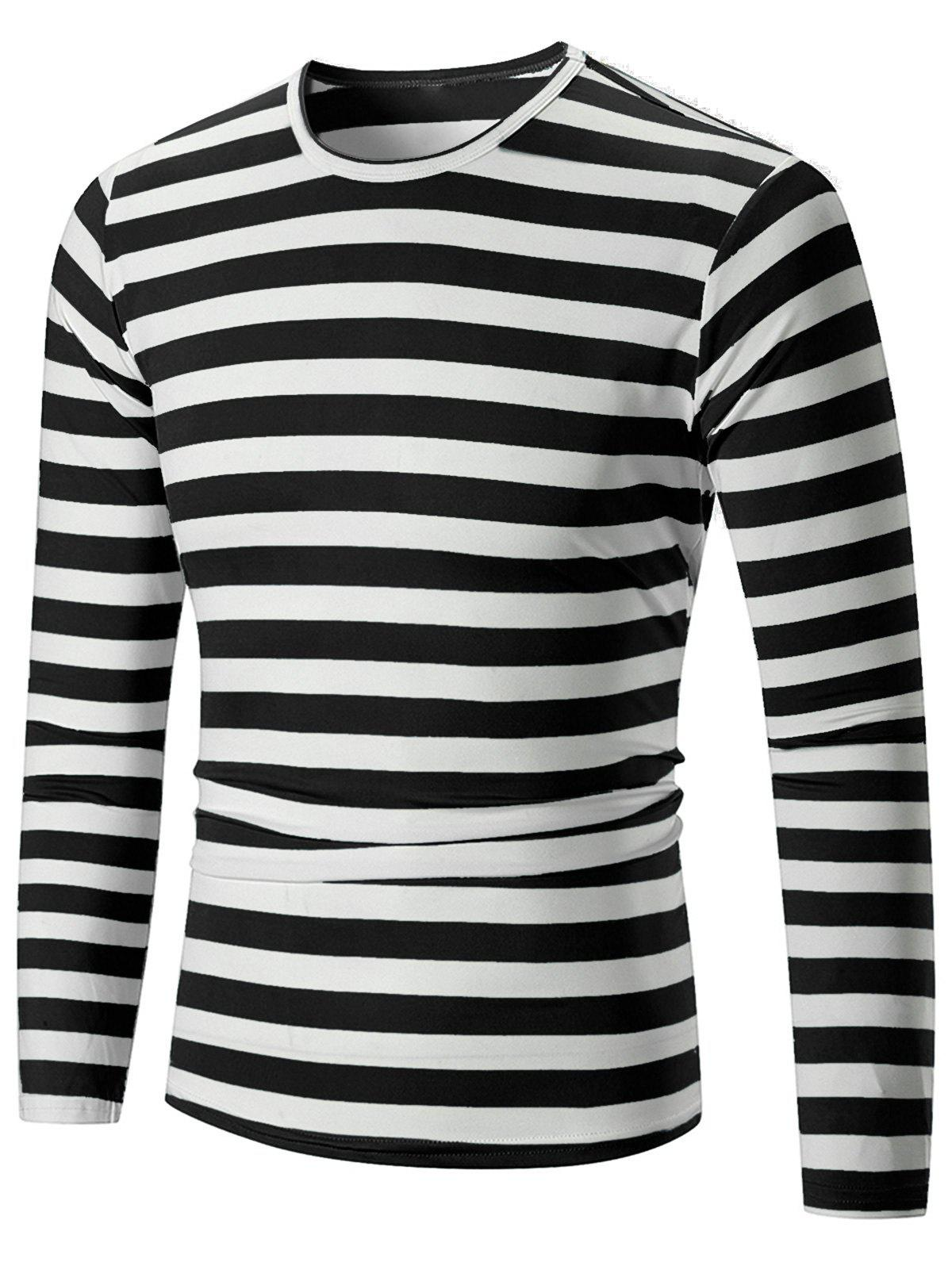 Shops Casual Striped Print Long Sleeve T-shirt