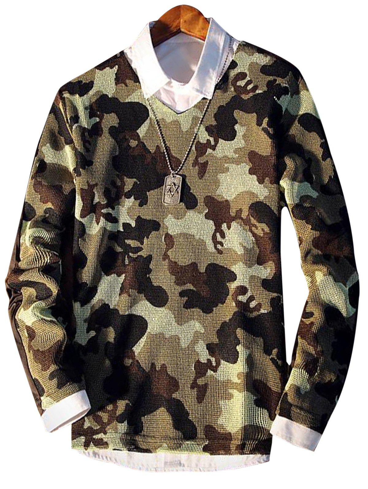Affordable V Neck Camo Pattern Long Sleeve T-shirt