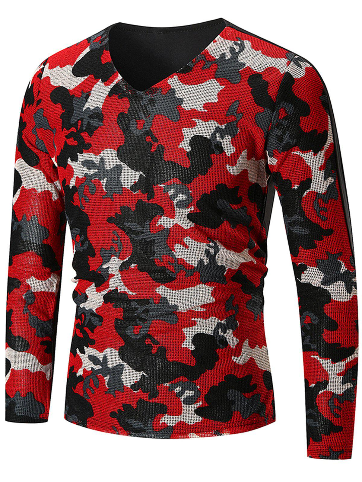 Discount V Neck Camo Pattern Long Sleeve T-shirt