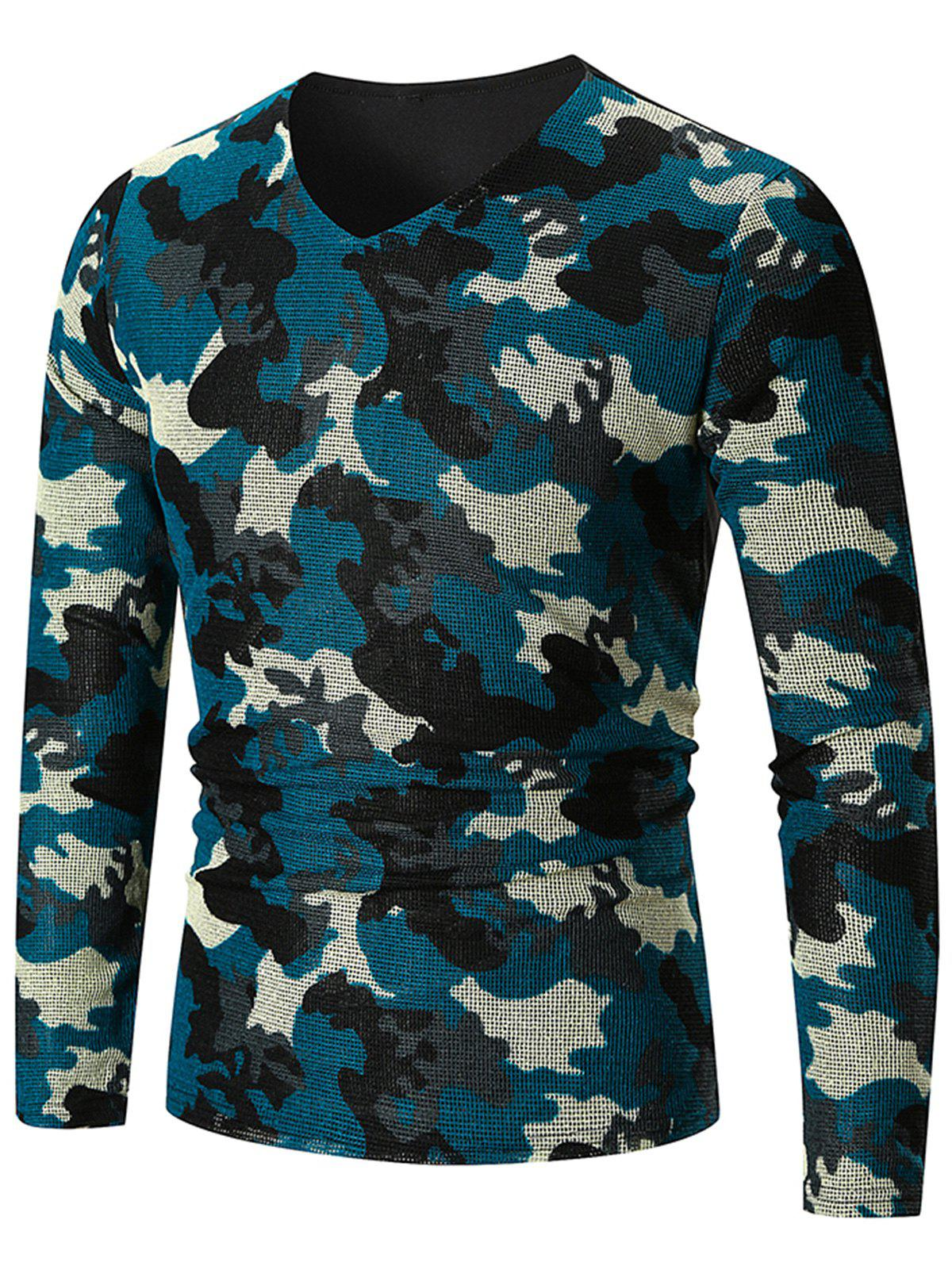 New V Neck Camo Pattern Long Sleeve T-shirt