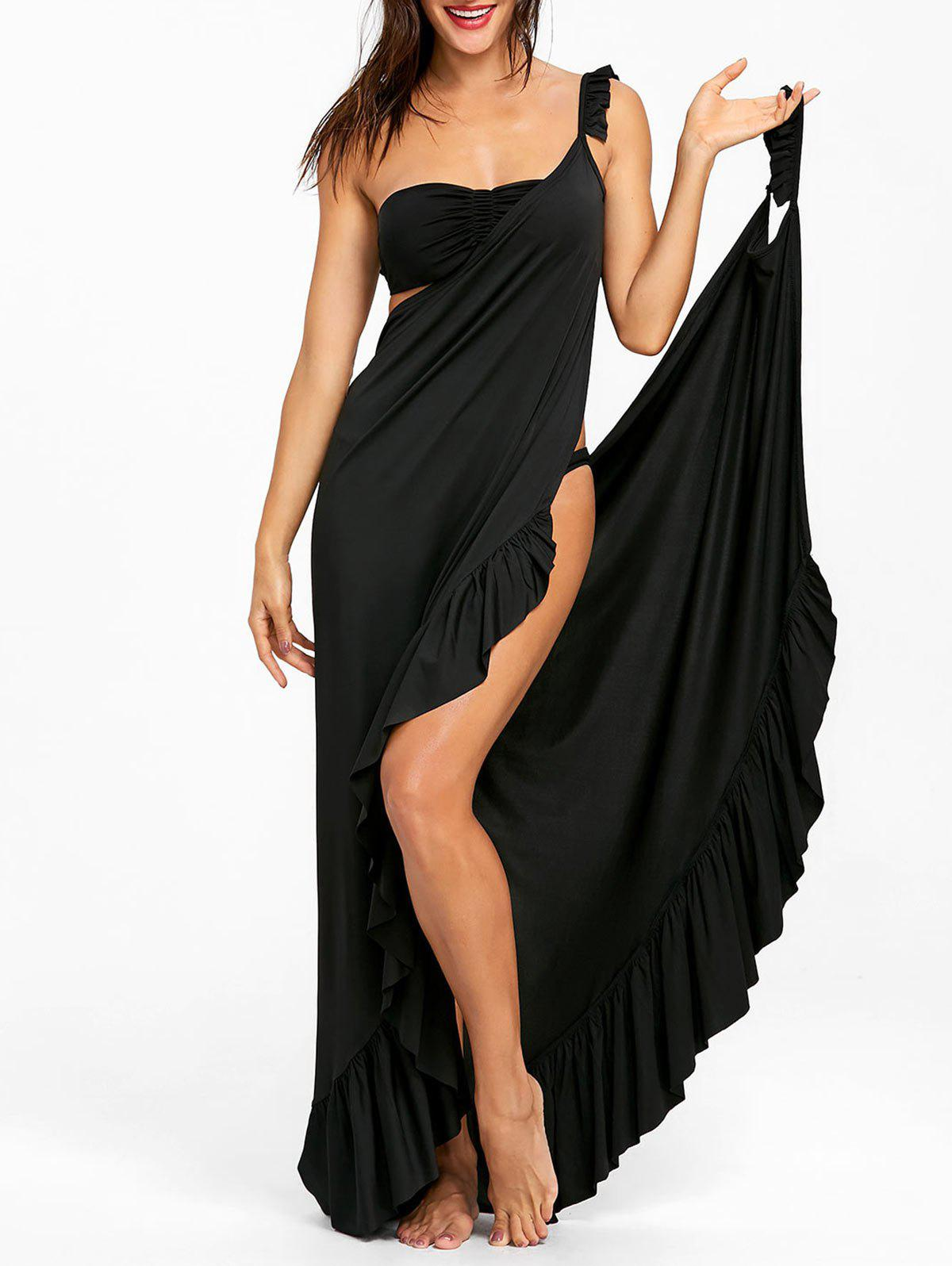 Hot Flounce Wrap Sleeveless Cover Up Dress