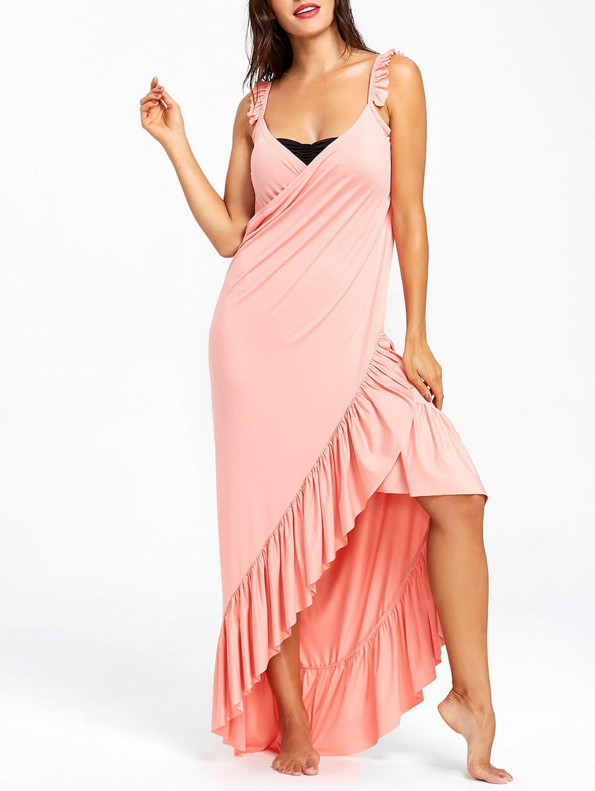Fancy Flounce Wrap Sleeveless Cover Up Dress