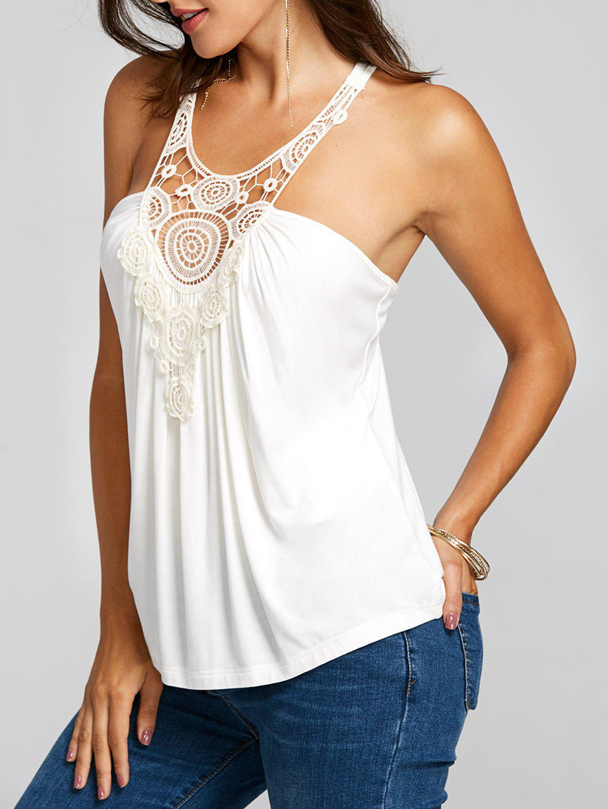 Shops Openwork Lace Peasant Tank Top