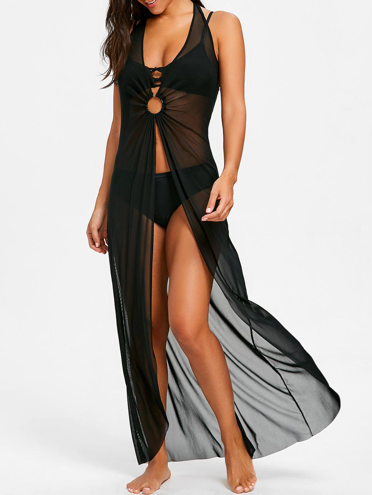Discount Halter Neckline Maxi Cover Up Dress