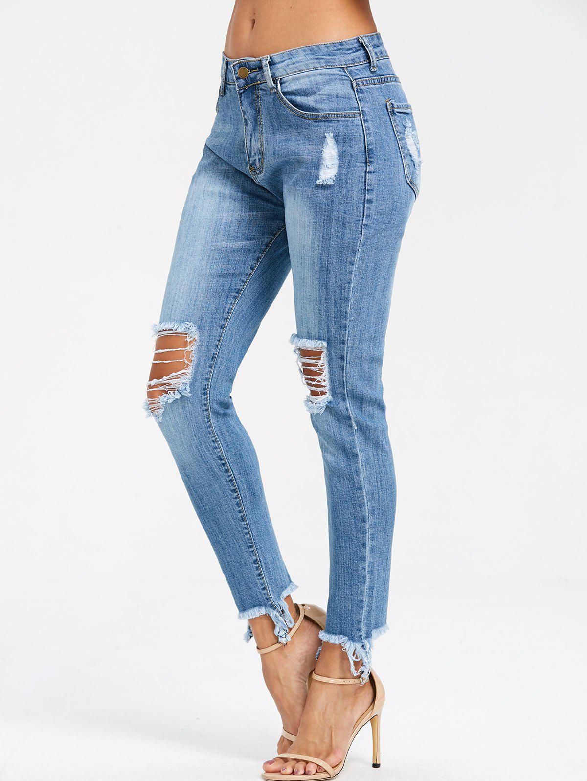 Discount Frayed Knee Ripped Skinny Jeans