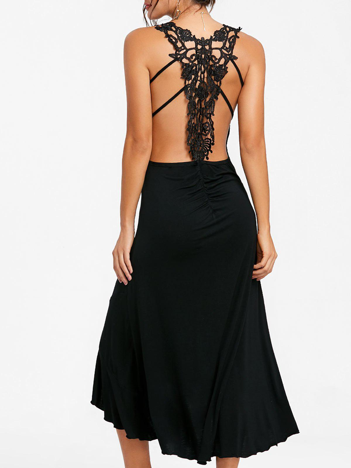 Shops Lace Panel Ruched Backless Midi Dress