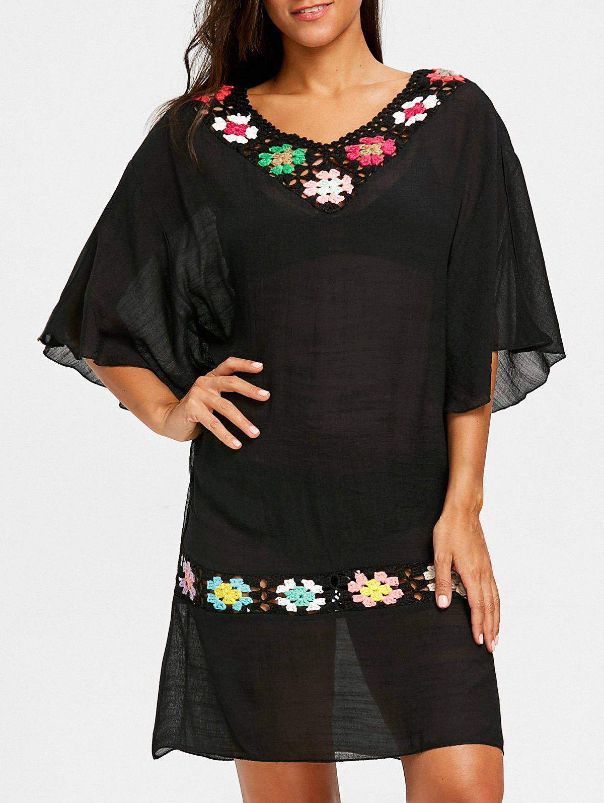 Fashion Crochet Flutter Sleeve Beach Cover-up