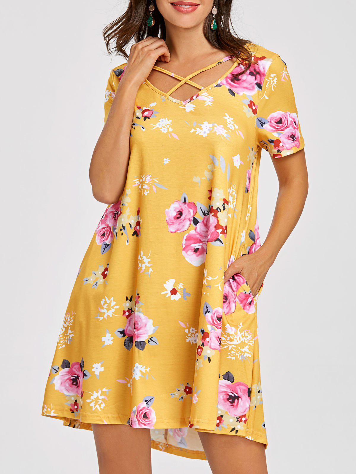 Cheap Front Cross Floral T-shirt Dress