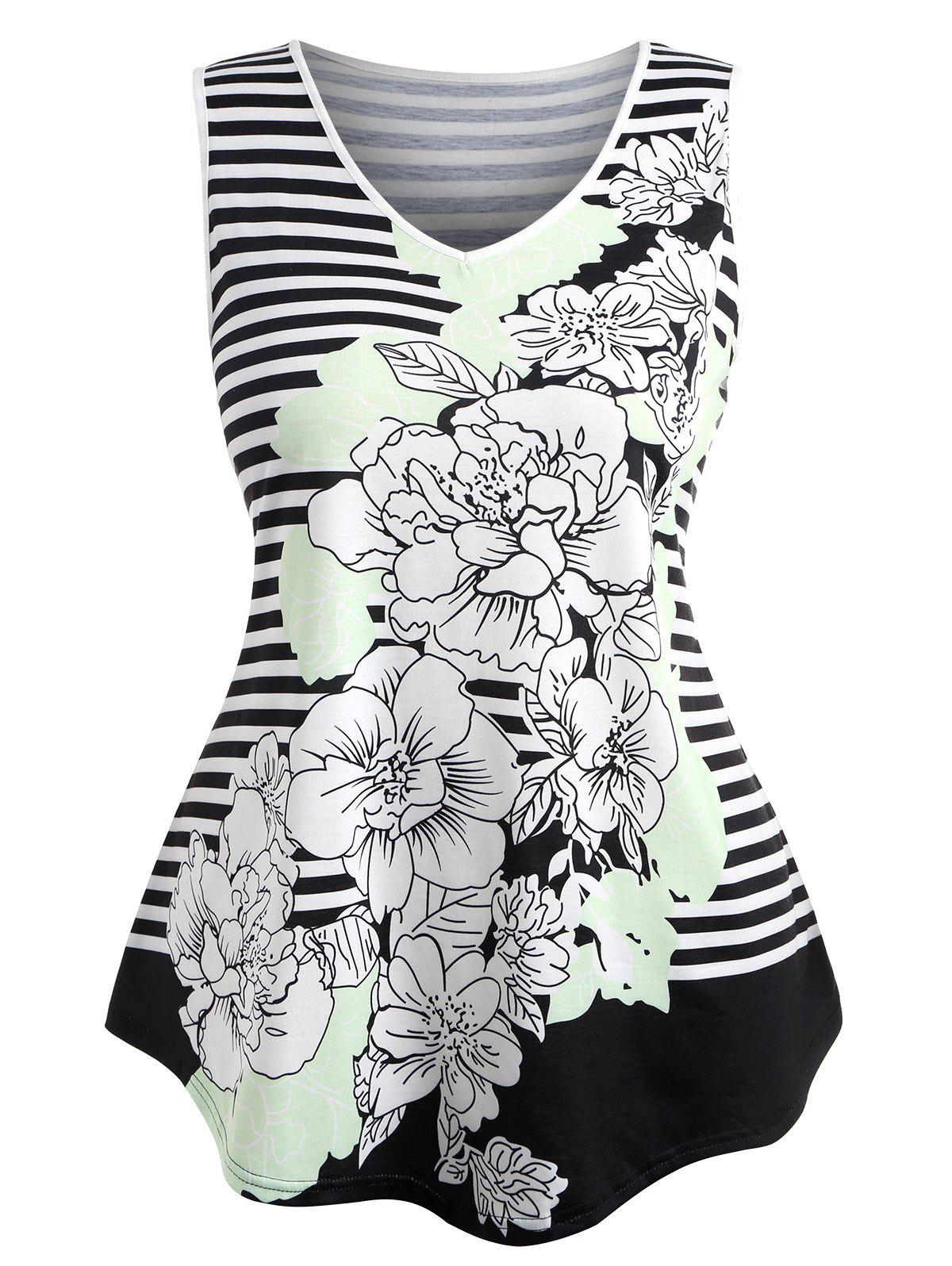 Outfits Plus Size V Neck Striped Floral Top