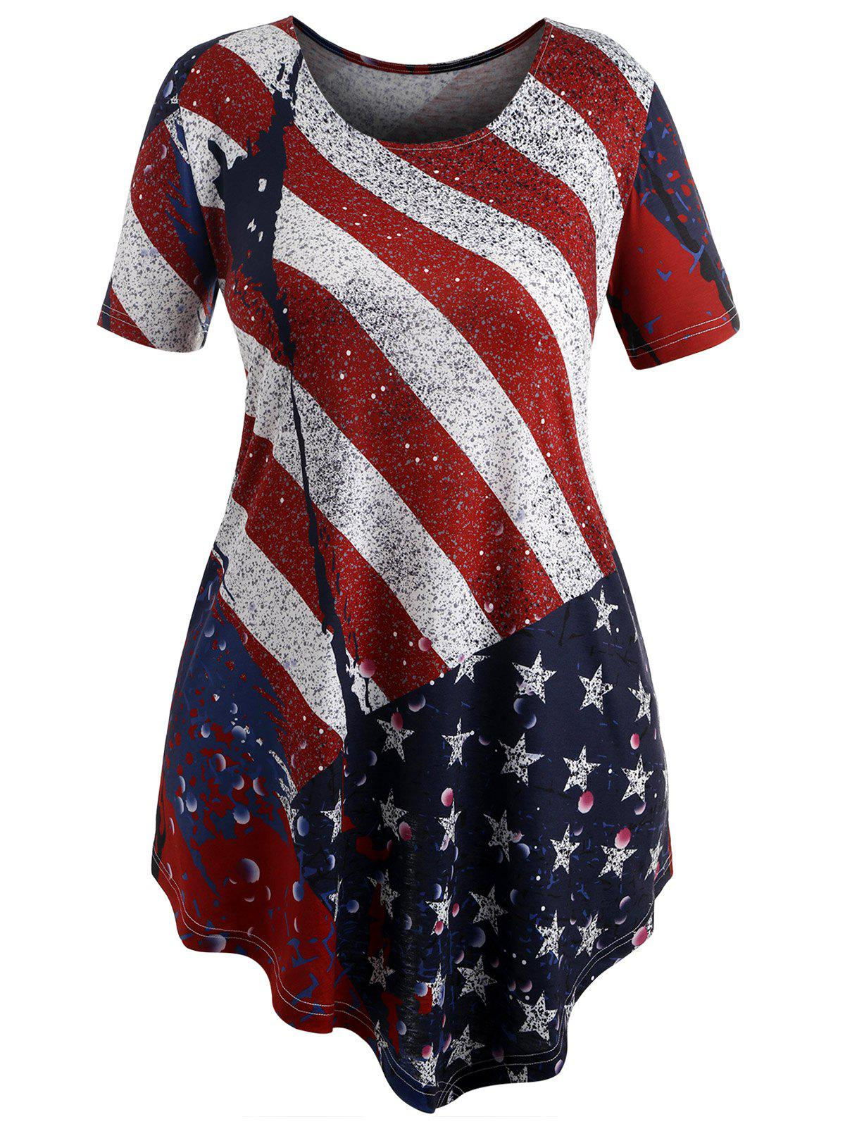 d68a97e88f4 Discount Plus Size Patriotic American Flag T-shirt