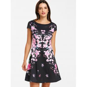 Flower Print Cap Sleeve Dress -