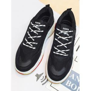 Sports Mesh Breathe Letter Print Color Block Sneakers -