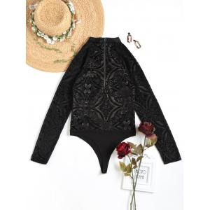 FRENCH BAZAAR Cutout Shoulder Floral Long Sleeve Clubwear Bodysuit -