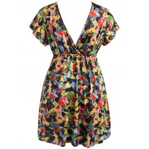 Plunging Neck Plus Size Mini Printed Dress -