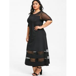 Round Neck Plus Size Mesh Panel Longline Dress -