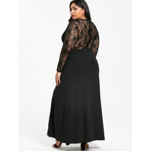 Front Slit Plus Size Lace Maxi Dress -