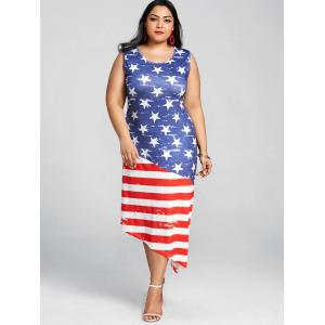 Sleeveless Plus Size Patriotic American Flag Dress -